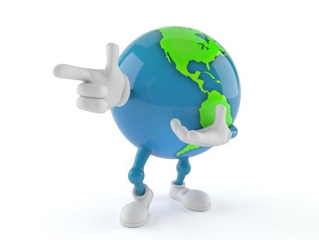 World globe character pointing finger isolated on white background. 3d illustration Foto de archivo
