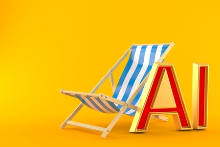 Deck chair with all inclusive isolated on orange background. 3d illustration Reklamní fotografie