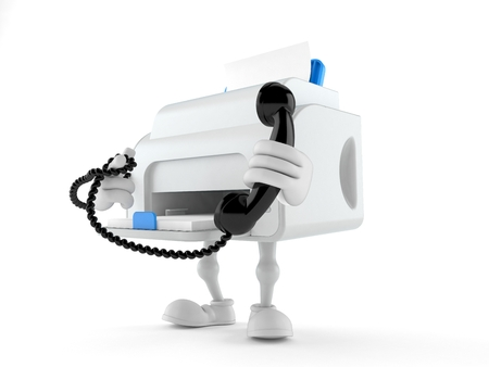 Printer character holding a telephone handset isolated on white background. 3d illustration