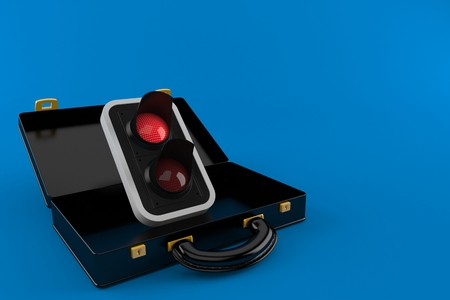 Red traffic light inside black briefcase isolated on blue background. 3d illustration Stock Photo