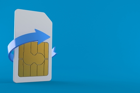 SIM card exchange concept isolated on blue background. 3d illustration Stock Photo