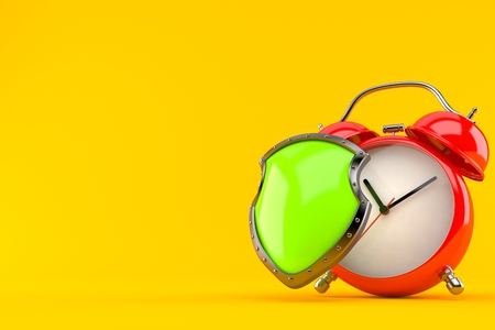 Alarm clock with protective shield isolated on orange background. 3d illustration Stock Photo