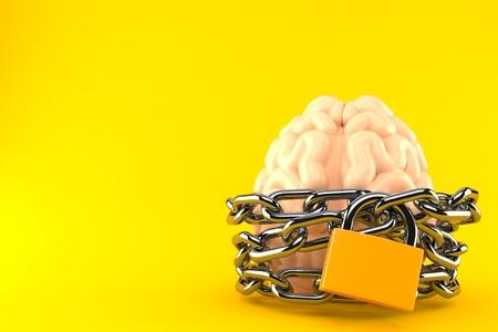 Gehirn mit Kette und Vorhängeschloss auf orangem Hintergrund isoliert. 3D-Darstellung Standard-Bild