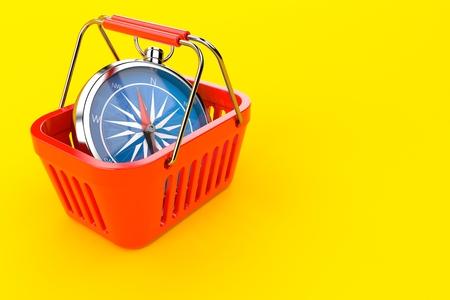 Shopping basket with compass isolated on orange background. 3d illustration