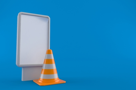 Traffic cone with blank billboard isolated on blue background. 3d illustration