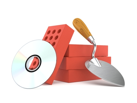 Trowel and bricks with cd disc isolated on white background. 3d illustration Stock Illustration - 114393469