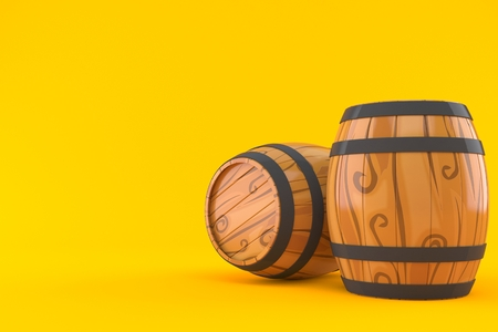 Barrels isolated on orange background. 3d illustration Banco de Imagens