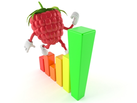 Raspberry character with chart isolated on white background. 3d illustration