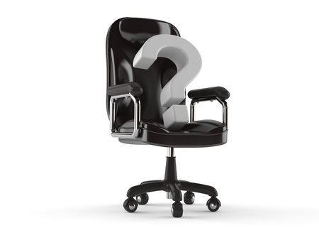 Question mark on business chair isolated on white background. 3d illustration Stock Photo