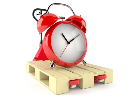 Alarm clock on hand pallet truck isolated on white background. 3d illustration