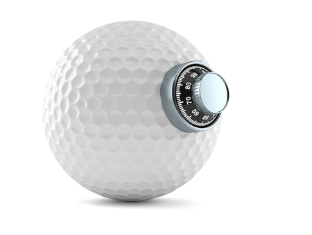 Golf ball with combination lock isolated on white background. 3d illustration