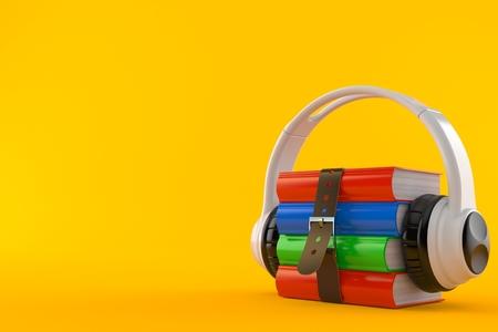 Books with headphones isolated on orange background. 3d illustration Reklamní fotografie