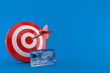 Bulls eye with credit card isolated on blue background. 3d illustration