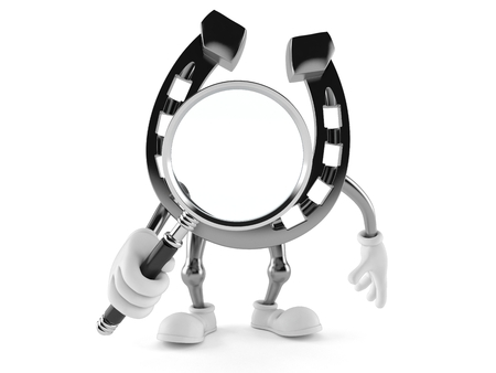 Horseshoe character looking through magnifying glass isolated on white background. 3d illustration