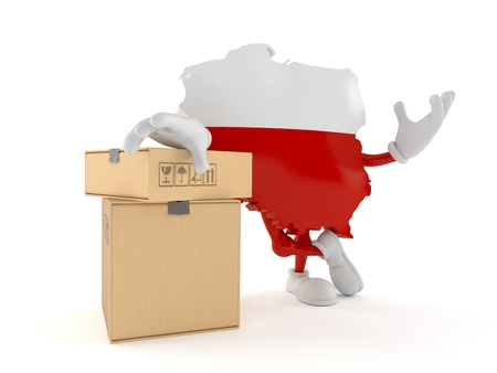 Poland character with stack of boxes isolated on white background. 3d illustration