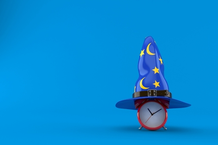 Alarm clock with wizard hat isolated on blue background. 3d illustration  Stock Photo 15a09deac40a