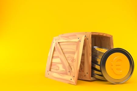 Euro coins inside wooden crate on orange background. 3d illustration Reklamní fotografie - 114831307