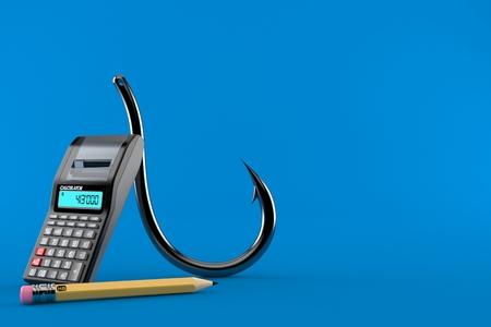 Fishing hook with calculator and pencil isolated on blue background. 3d illustration