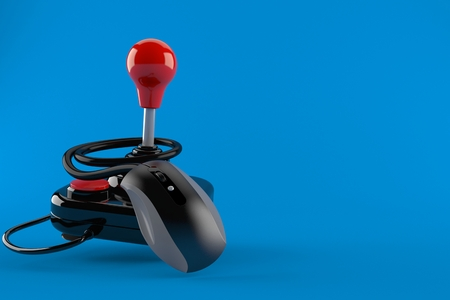 Joystick with computer mouse isolated on blue background. 3d illustration 写真素材