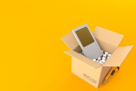 SIM card inside package isolated on orange background. 3d illustration Stock Photo
