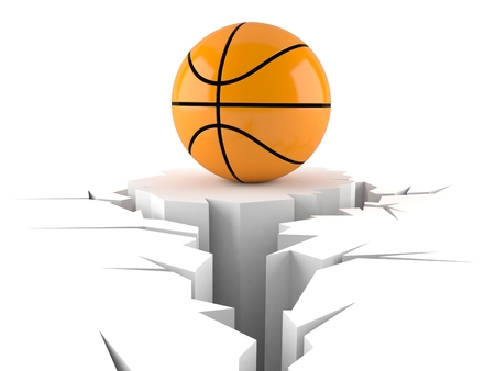 Basketball ball with cracked hole isolated on white background. 3d illustration