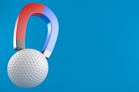 Golf ball with horseshoe magnet isolated on blue background. 3d illustration