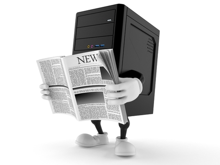 Computer character reading newspaper isolated on white background. 3d illustration