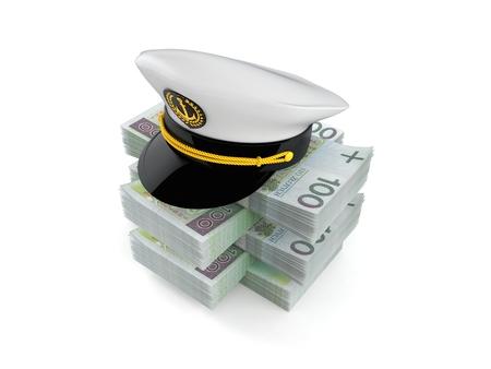 Captains hat on stack of money isolated on white background. 3d illustration 85238ba9678c