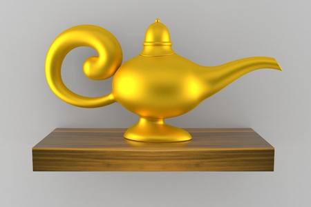 Magic lamp on wooden shelf isolated on grey background. 3d illustration Stock Photo