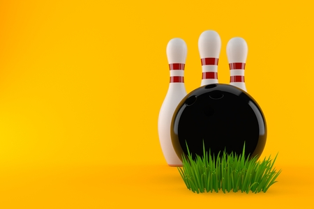 Bowling ball and pins on grass isolated on orange background. 3d illustration