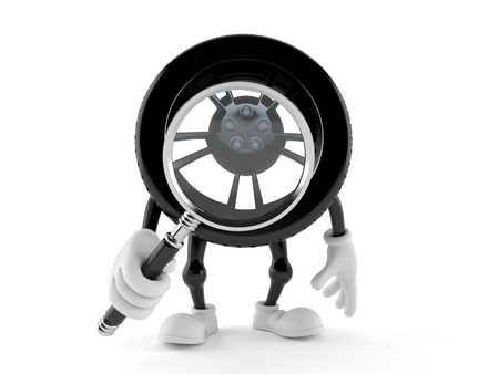 Car wheel character looking through magnifying glass isolated on white background. 3d illustration