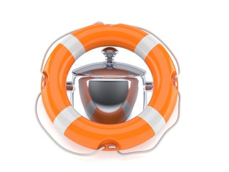 Kitchen pot inside life buoy isolated on white background. 3d illustration
