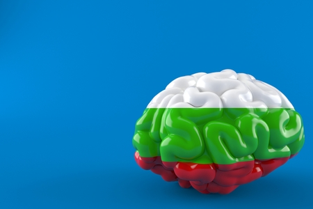 Brain with bulgarian flag isolated on blue background. 3d illustration