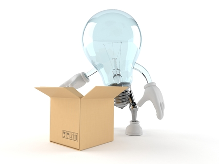 Light bulb character with open cardboard box isolated on white background. 3d illustration Reklamní fotografie