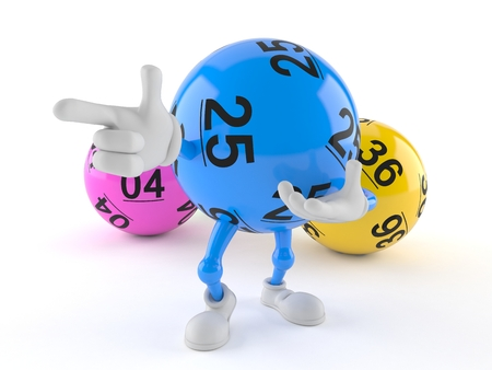 Lotto ball character pointing finger isolated on white background. 3d illustration