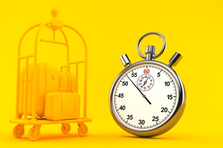 Hospitality background with stopwatch in orange color. 3d illustration