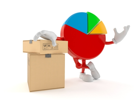 Pie chart character with stack of boxes isolated on white background. 3d illustration Imagens