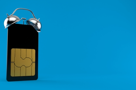 SIM card alarm clock isolated on blue background. 3d illustration