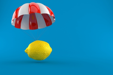 Lemon with parachute isolated on blue background. 3d illustration