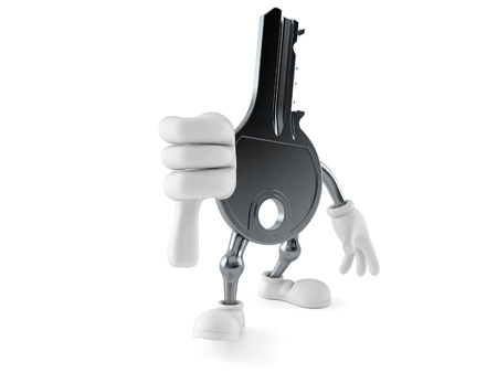 Door key character with thumbs down gesture isolated on white background. 3d illustration
