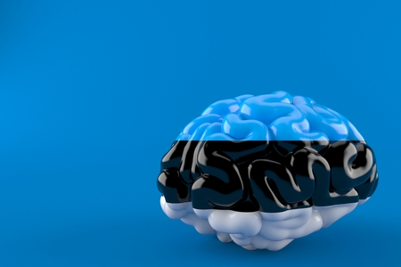 Brain with estonian flag isolated on blue background. 3d illustration