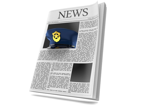 Police hat inside newspaper isolated on white background. 3d illustration