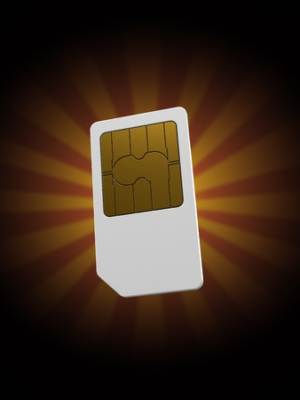 SIM card on rays background. 3d illustration Stock Photo