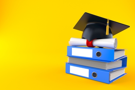 Mortarboard with certificate on stack of ring binders isolated on orange background. 3d illustration