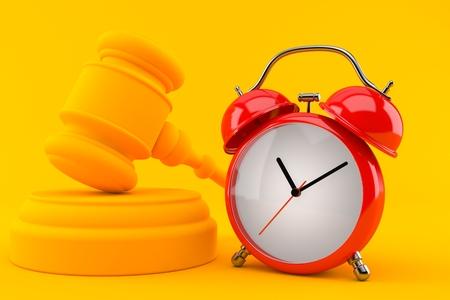 Law background with alarm clock in orange color. 3d illustration
