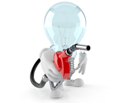 Light bulb character holding gasoline nozzle isolated on white background. 3d illustration Фото со стока