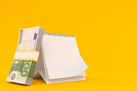 Euro currency with blank calendar isolated on orange background. 3d illustration