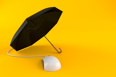 Umbrella with computer mouse isolated on orange background. 3d illustration