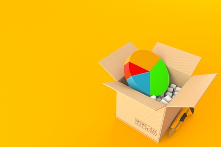 Pie chart inside package isolated on orange background. 3d illustration