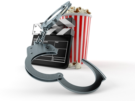 Popcorn and clapboard with handcuffs isolated on white background. 3d illustration